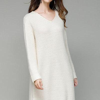V-neck Long Sleeves Pure Color Split Long Pullover Sweater