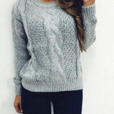 Scoop Pure Color Long Sleeves Cabel Sweater