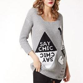 Long Sleeves Print Big Scoop Long Sweater