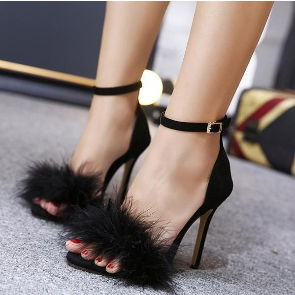 Stiletto PU Heel Peep-toe Fur Decorate Ankle Strap Sandals
