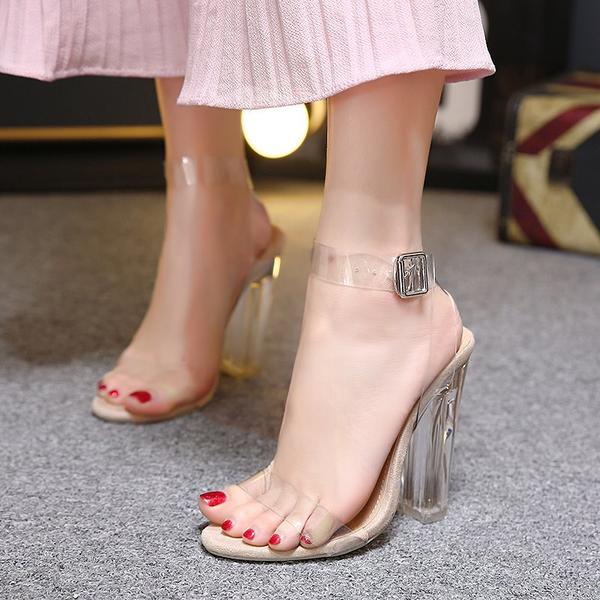 Open-Toe Transparent Buckle Ankle-Strap Chunky Heels