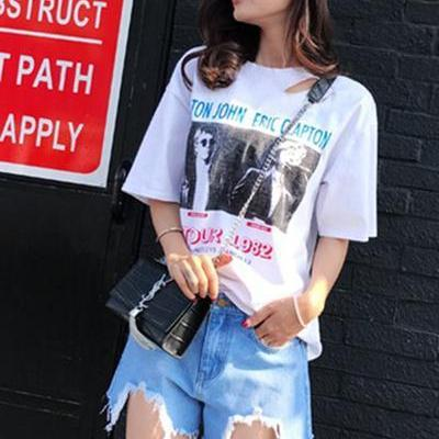 High Waist Pure Color Tassel Rough Edge Denim Shorts