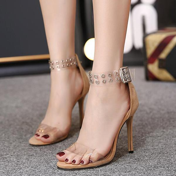 Hasp Rivets Transparent Stiletto Heels Ankle Wraps High Heel Sandals