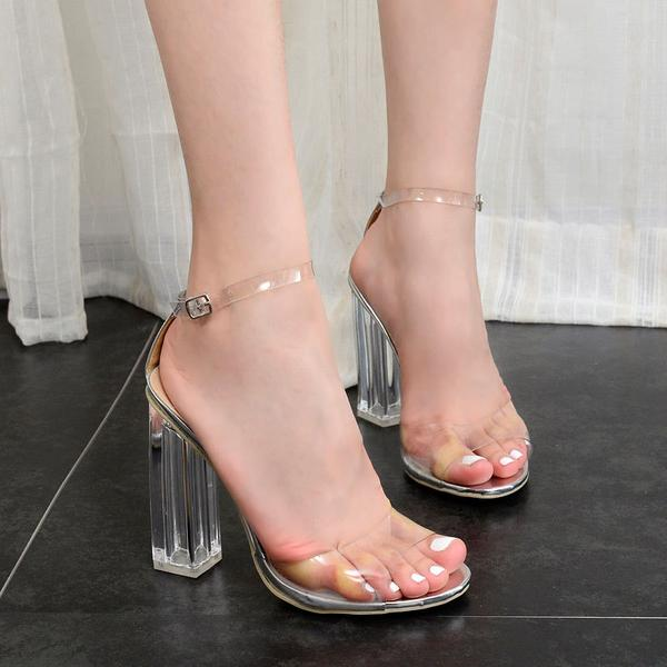 Peep-Toe Transparent Ankle Strap Chunky Heel, High Heels