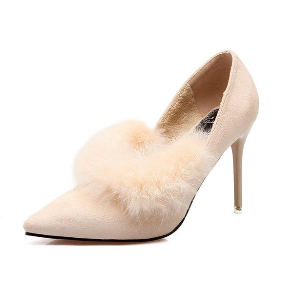 Faux Suede Pointed-Toe High Heels Featuring Fur Trimmed