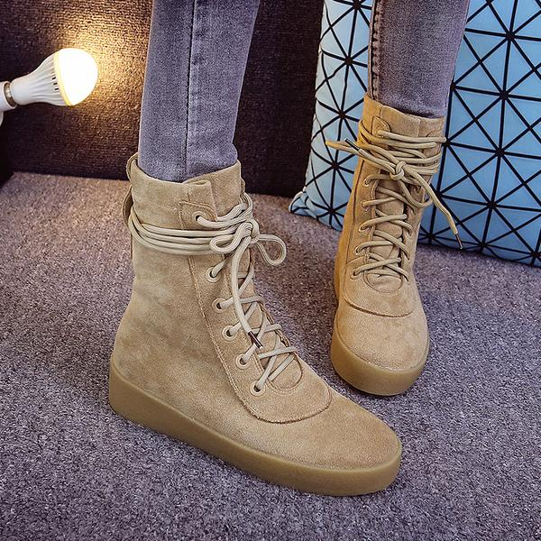 Lace Up Round Toe Suede Flat Short Martin Boots