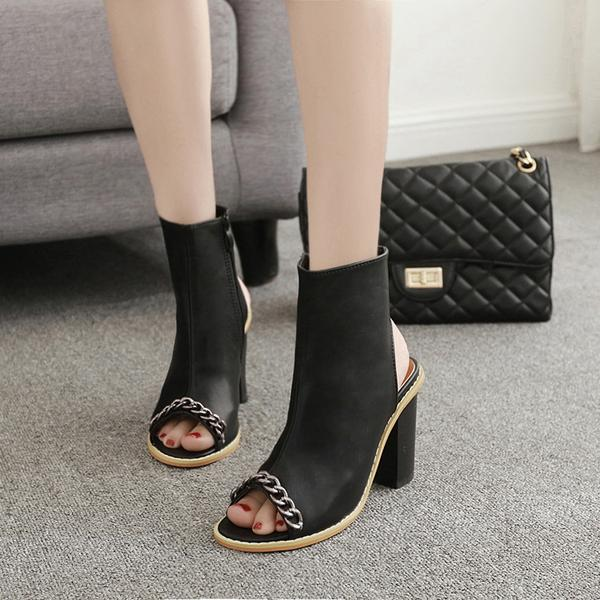 Metal Chain Decorate Cut Out Peep Toe Chunky Heels Short Boot Sandals