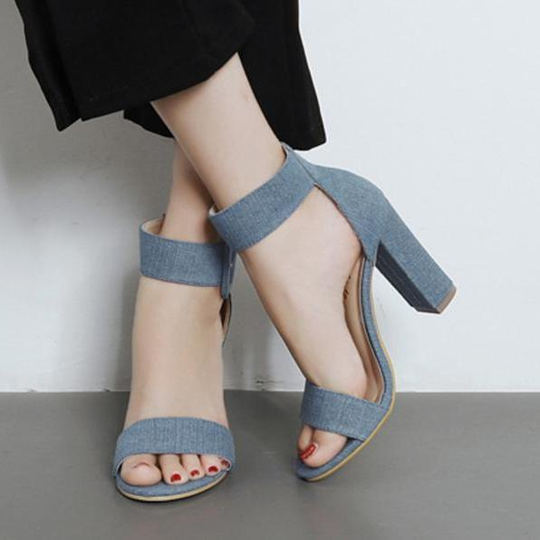 Pure Color Open Toe Ankle Wrap Chunky High Heels Sandals