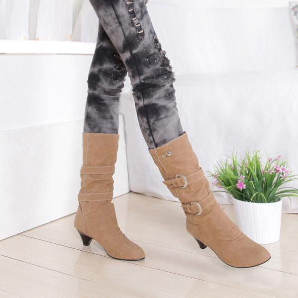 Round Toe Hasp Low Chunky Heels Half Boots