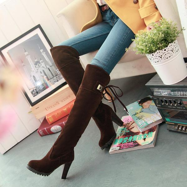 Solid Color Back Lace Up Chunky High Heels Over-knee Long Boots