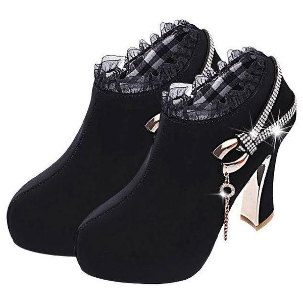 Shinning Rhinestone Chain Decorate Chunky High Heels Short Boots