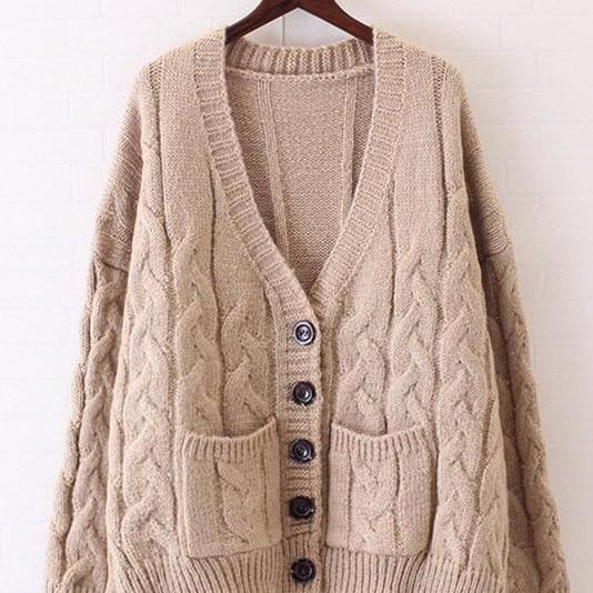Deep V-neck Buttons Pockets Cable Loose Cardigan