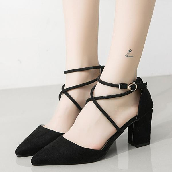 Straps Cross Ankle Wrap Pointed Toe Chunky Heels