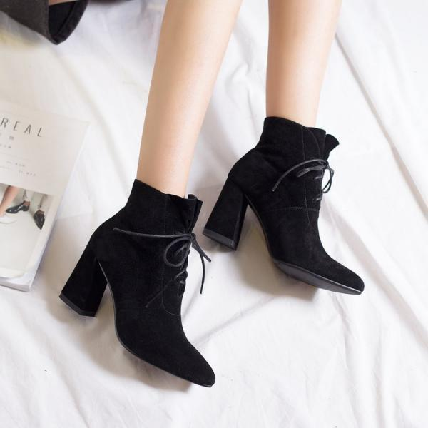 Faux Suede Lace-Up Pointed-Toe Block Heel Ankle Boots
