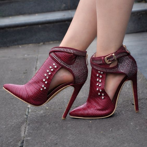 Crystal Pointed Toe Ankle Wraps Cut Out Stiletto High Heels Short Boots