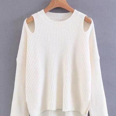 Knitted Cold Shoulder Long Sleeves Sweater Featuring Crew Neckline