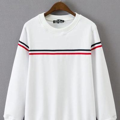 Crew Neck Long Sleeves Sweatshirt with Thin Stripes