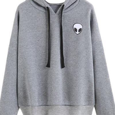 Drawstring Hood Long Cuffed Sleeves Pullover Featuring Alien Graphic