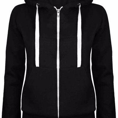 Solid Color Zipper Drawstring Slim Hoodie