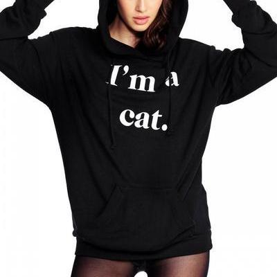 """I'm A Cat"" Black Cat Ear Hood Long Cuffed Sleeves Pullover"