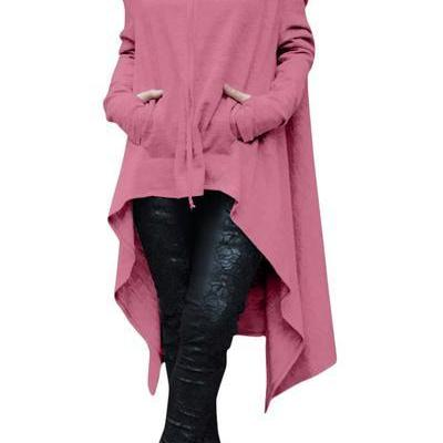 Solid Color Pile Neck Pocket Irregular Long Hoodie