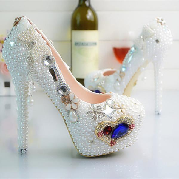 Crystal Beadings Bowknot Round Toe Platform Super High Stiletto Heels Bridal Wedding Shoes