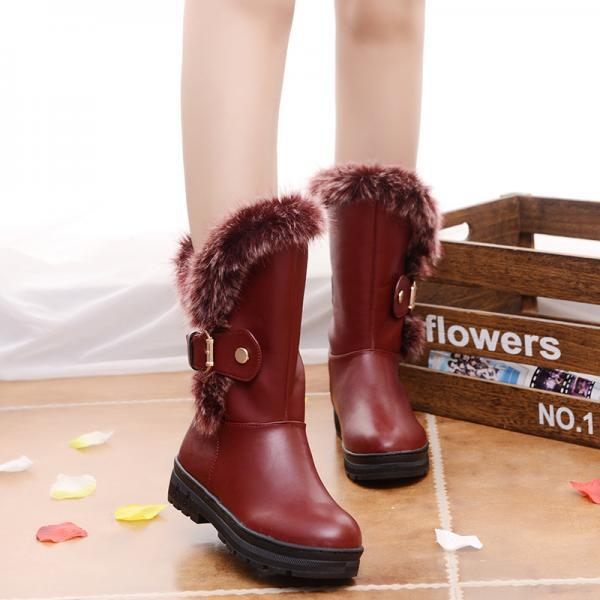PU Belt Buckle Pure Color Chunky Heel Round Toe Boots