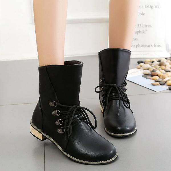 PU Pure Color Chunky Heel Round Toe Short Boots