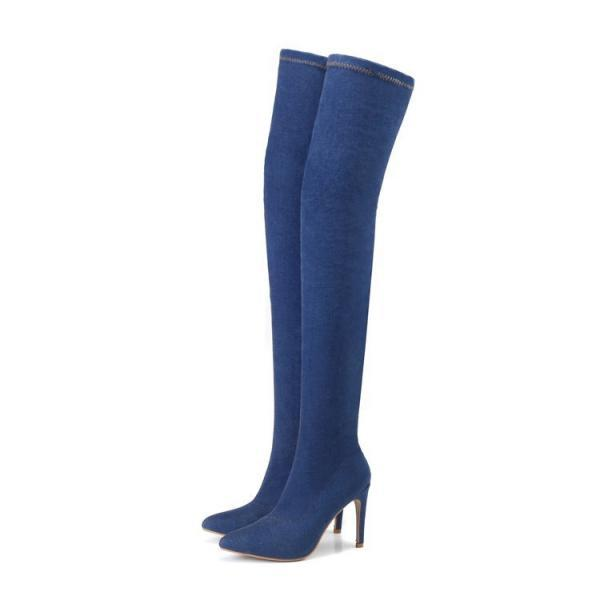 Cowboy Cloth Pure Color Stiletto Heel Pionted Toe Long Boots