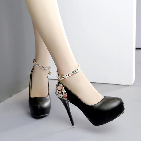 Pure Color PU Stiletto Heel Round Toe Ankle Strap High Heels