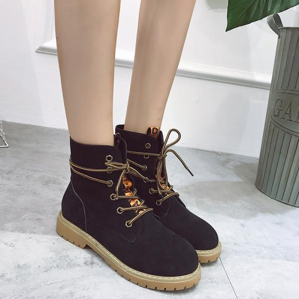 Pure Color Scrub PU Chunky Heel Round Toe Lace-up Short Boots