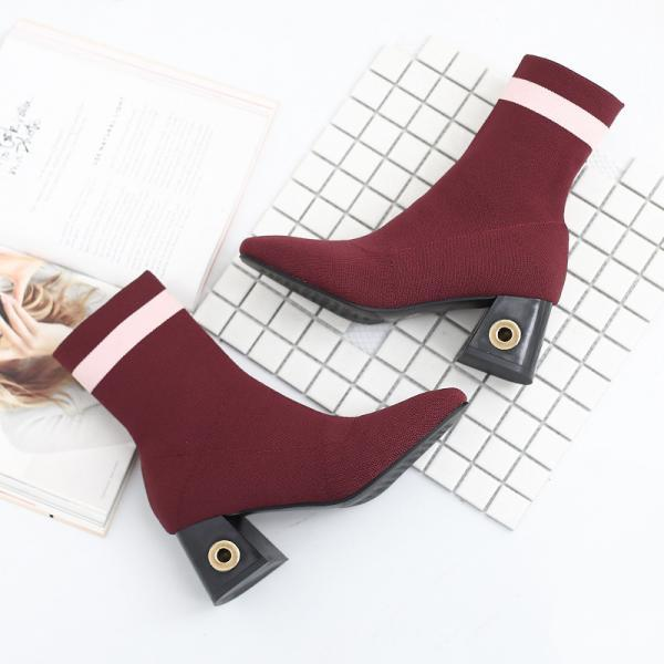 Square Toe Striped Chunky Heel Ankle Boots
