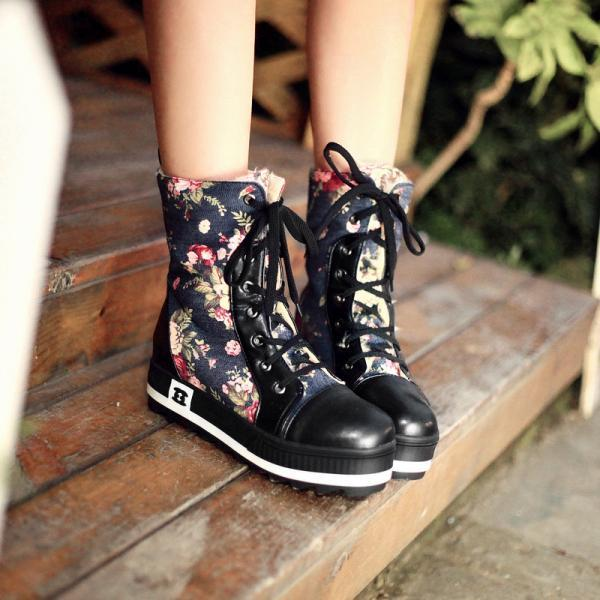 Floral Print Lace Up Ankle Flat Boots