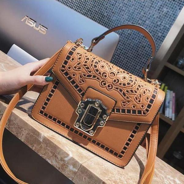 Solid Color Floral Embroidery Women Satchel