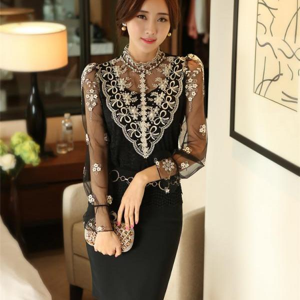 Sexy High-necked Lace Pure Color Patchwork Long Sleeves Long Blouse
