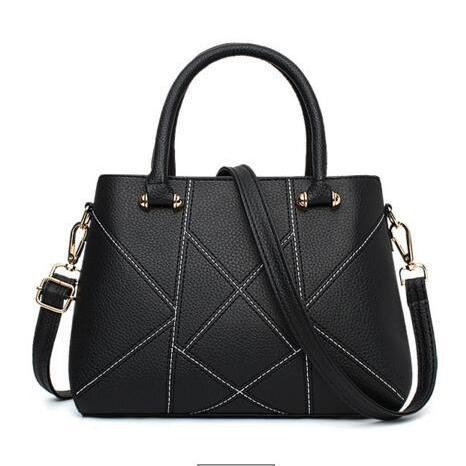 Geometric Pattern PU Handbag Tote Bag with Shoulder Strap