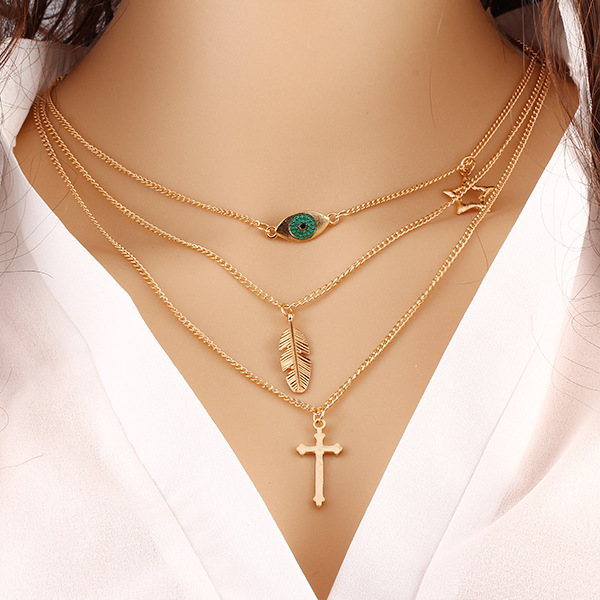 Fashion Eye Leaves Temperament Multilayer Necklace