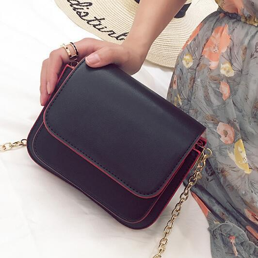Korean Style Solid Color Chain Crossbody Bag