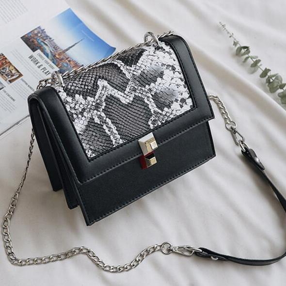 Serpentine Pattern PU Cross Body Bag
