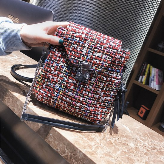 Dual-use Color Block Woolen Women Backpack