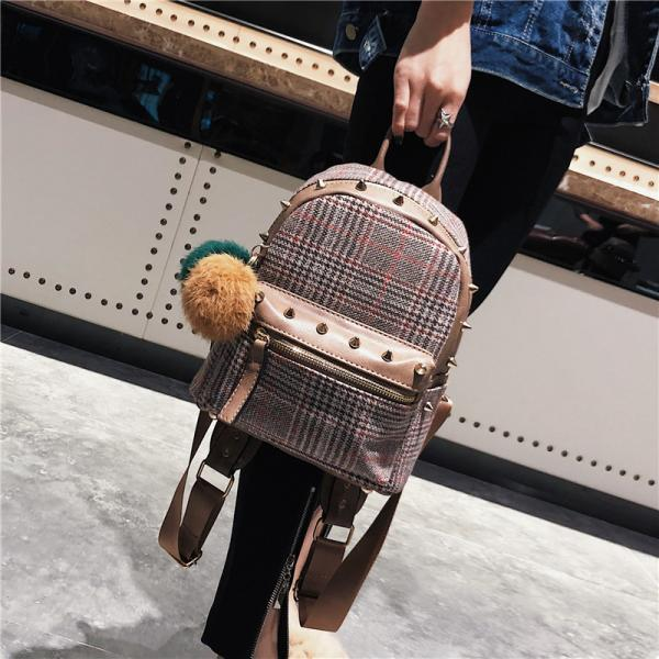 Korean Style Rivet Plaid Women Backpack