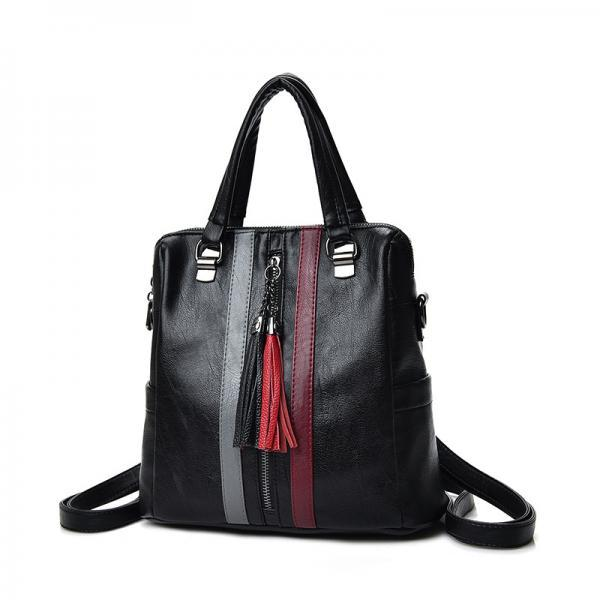 Concise Patchwork Tassel Women Satchel