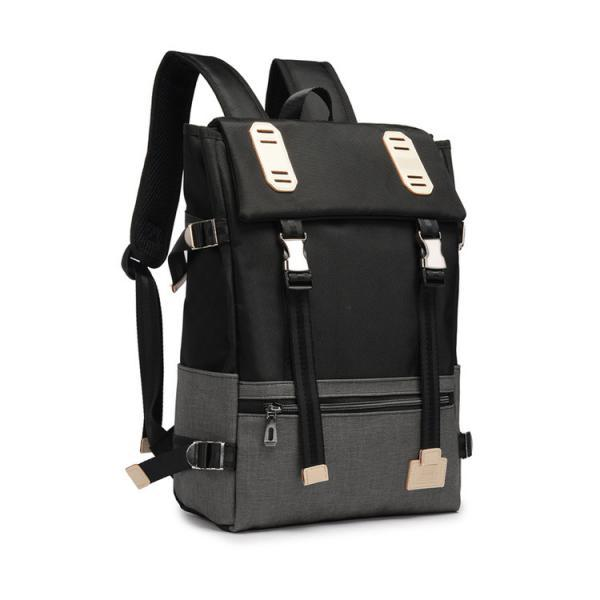 Belt-Decorated Color Block Oxford Backpack