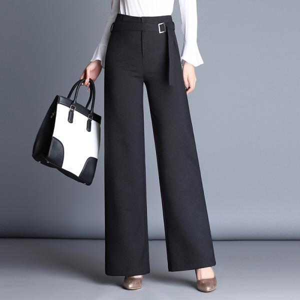 Belt High Waist Solid Color Loose Long OL Bell-bottomed Pants