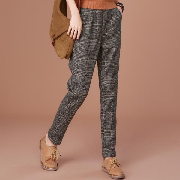 Plaid Lace Up Thick Long Woolen Casual Pants