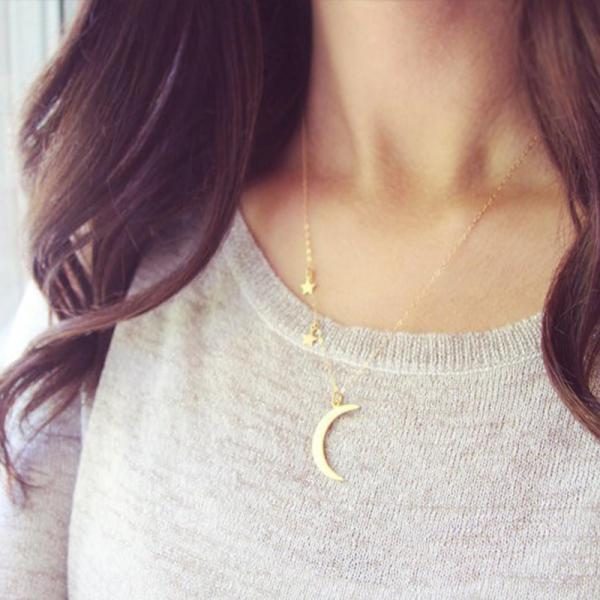 Romantic Couple Metal Moon Star Combination Clavicle Necklace