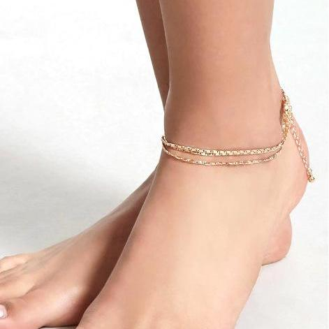 Fashionable Simple And Shining Chain Layer Anklets