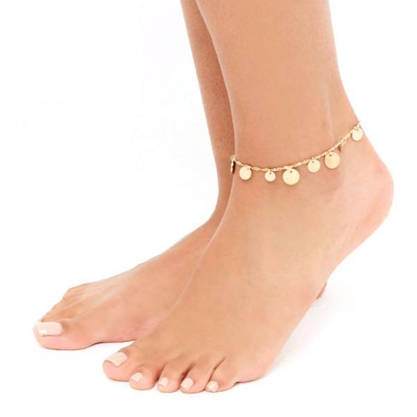 Metallic High-gloss Sequins Beads Anklets