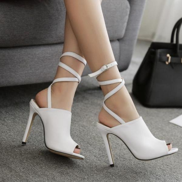 Peep Toe Ankle Wraps Strap Stiletto High Heel Sandals