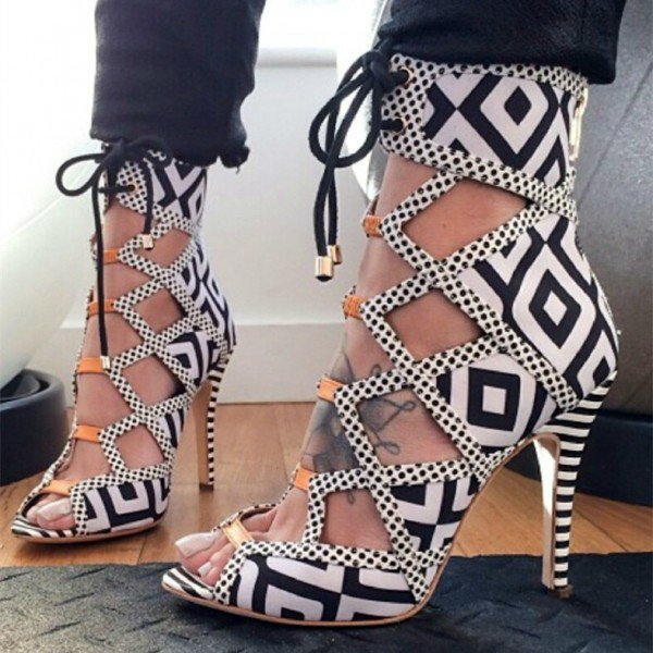 Plaid Hollow Out Ankle Wrap Stiletto High Heel Sandals
